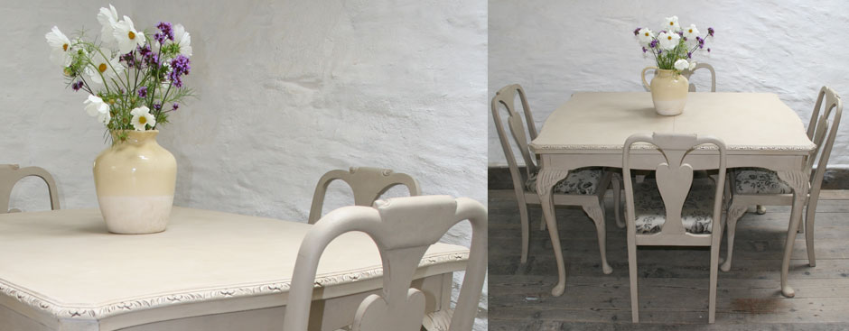 Pedran Hand Painted Queen Anne Style Extending Dining Table And Six  Matching Chairs I
